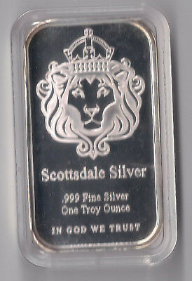 Scottsdale 1 oz 'The One' Silver Bullion Bar mint condition in plasic capsule