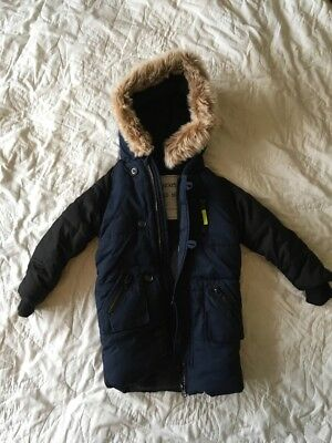 Boys thick winter coat, 18-24 months, black/blue, worn once or twice