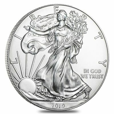 Lot of 5 - 2019  One Troy Oz .999 Fine Silver American Eagle Coins BU