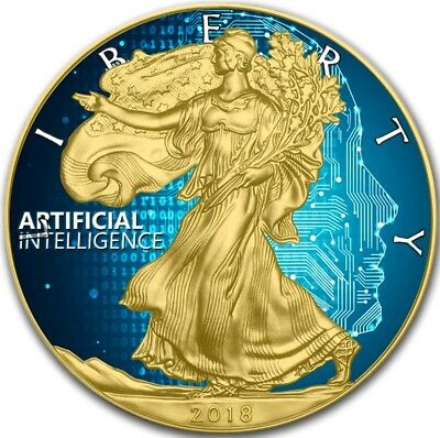 2018 1 Oz $1 ARTIFIAL INTELLIGENCE EAGLE Coin WITH 24K GOLD GILDED.