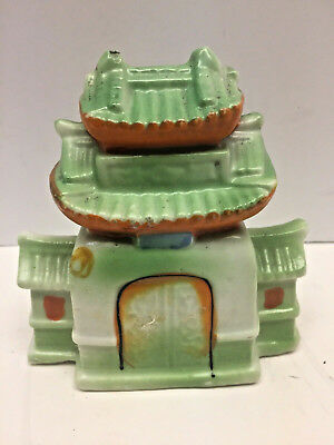 Vintage FISH Tank AQUARIUM ORNAMENT Decoration Ceramic Pagoda Japan