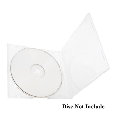 50 Pack Slim 5.2mm Jewel Case Clear Single CD DVD Disc Storage w/Built-in Tray
