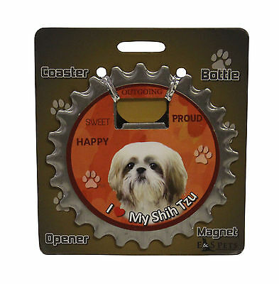 Shih Tzu Puppy Tan Dog Bottle Ninja Stainless Steel Coaster Opener Magnet