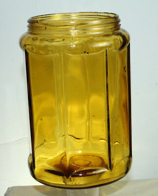 Antique Amber Paneled Glass Cigar Jar Humidor Apothecary Canister