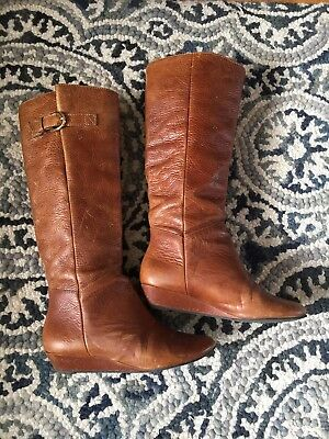 5d89f69467b Steven By Steve Madden  INTYCE  Tall Brown Leather Knee High Wedge Boots 5.5