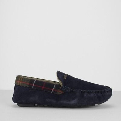 Barbour Halom Monty Men's Suede Moccasin Slippers Navy