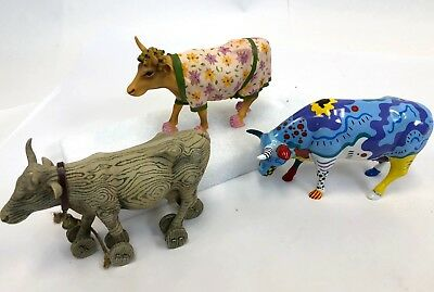 Lot of 3 Cowparade Cow Parade Pull Toy Doodle Early Show Resin Ceramic Figurines