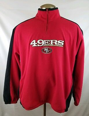 NFL Team Apparel San Francisco 49ers Mens Red Quarter Zip Pullover Sweater  XL 0730f30e2