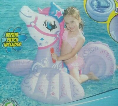 Inflatable Sea Horse Ride On Pool Toy Float Blow Up Swimming No Tip Seahorse