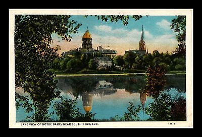 Dr Jim Stamps Us Lake View Notre Dame South Bend Indiana White Border Postcard