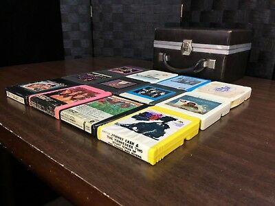 Lot of (12) 8 Track Tapes *TESTED Play Great Rock, etc. Tape Collection w Case