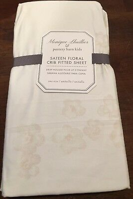 Pottery Barn Kids Monique Lhuillier Sateen Floral Crib Fitted Sheet New