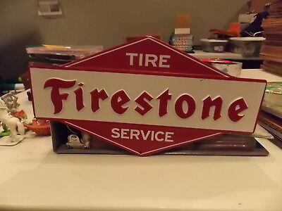 Embossed Firestone TIRE Service Station Gas Oil Man cave Garage Metal Sign *NEW*