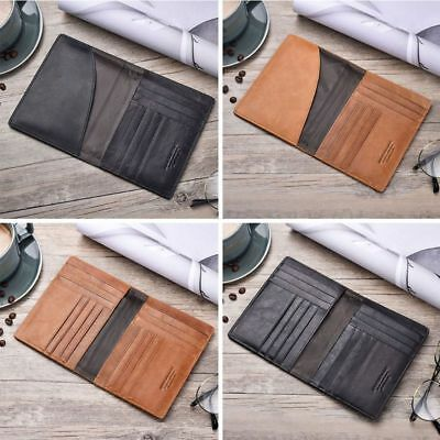 Leather Cowhide Travel Passport ID Card Cover Holder Protector Organizer Wallet