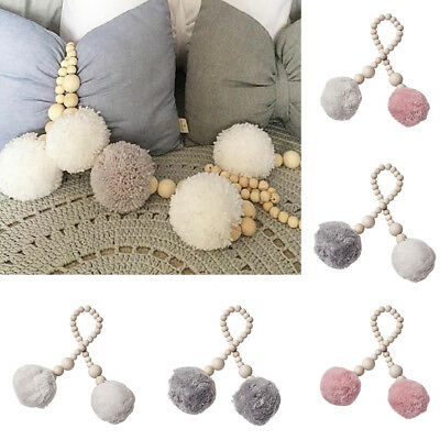 KF_ Baby Room Wooden Bead Pompom Hanging Decor Nordic Photography Wall Prop Re