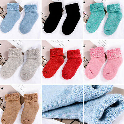 KF_ Winter Toddler Baby Boy Girl Solid Color Thicken Stretchy Thermal Socks Pr