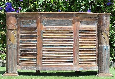 Recycled Reclaimed Shutter Timber Drinks Bar Counter Statement Reception Desk