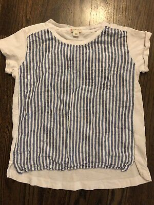 JCrew Girls striped Short Sleeve TShirt Size 8 White And blue Linen And Cotton
