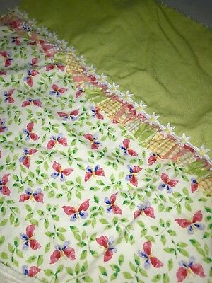Wendy Bellissimo Floral Butterflies White Ribbed Terry Cotton Crib Comforter EUC