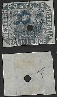 WA 4d Slate Blue - Swan Watermark - Official Commissariat Punch