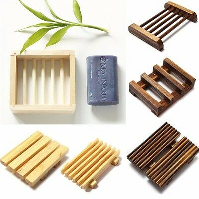 Natural Wood Wooden Soap Dish Storage Tray Holder Bath Shower Plate Bathroom IO