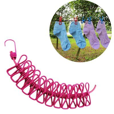 Windproof Drying Rack Clips Cloth Hangers Steel Clothes Line Pegs Travel Rope UB