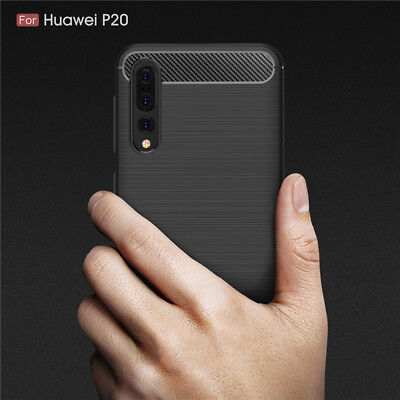 For Huawei P20 Shockproof Hybrid Carbon Fiber Heavy Duty Case Cover