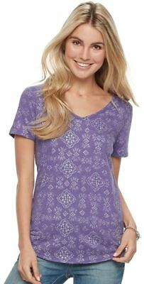 983b837ba8bb Women's SONOMA Goods for Life Essential V-Neck Tee Color: Purple Foil Print