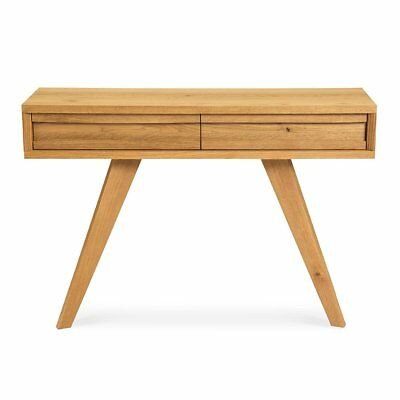 Carlsen Scandinavian Rustic Country Wooden Oak Console / Hall Table With Drawers