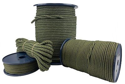 Olive Khaki Green Polypropylene Rope Braided Poly Cord Line Boating Camping