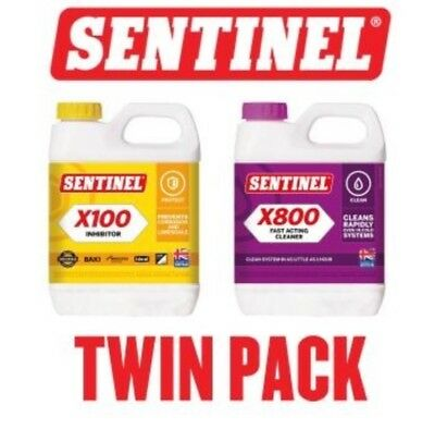Sentinel X100 Inhibitor & X800 Ultimate Central Heating System Cleaner TWINPACK