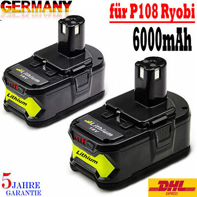 2x Akku Für RYOBI ONE PLUS P108 P104 P106 P770 Li-ion High Capacity 18V 6,0Ah