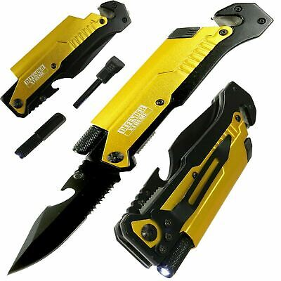 Yellow EDC Spring Assisted LED Multifunction Pocket Knife Survival MULTI TOOL