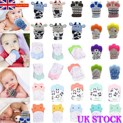 Baby Silicone Mitts Teething Mitten Teether Glove Relieve Tooth Pain Anti-Bite