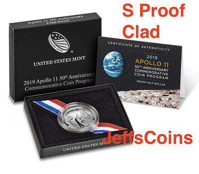 2019 S Apollo 11 50th Anniversary PROOF CLAD Half Dollar Curved Coin 19CE