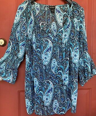 6076c81f712 Lane Bryant Teal Blue   Brown Paisley Blouse Sheer Shirt Top Plus Size  22 24W