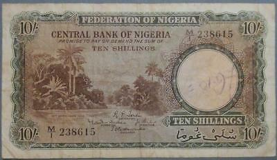 Federation of Nigeria - RARE 10 Shillings 1958 Banknote ............D193