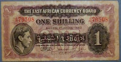 East African Currency Board - SCARCE 1 Shilling banknote 1943.  ............D198