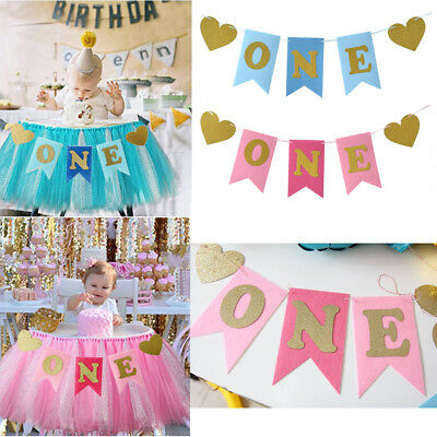 One Baby Boy Girl Chair Banner Baby 1st Birthday Photo Props Party Decoration UK