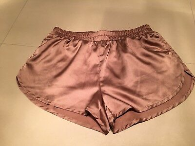Glamorous rose gold copper nude satin shorts NEW XS