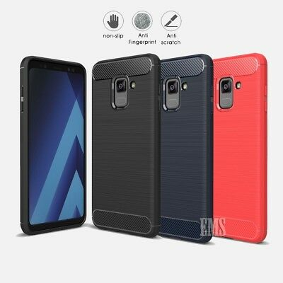 For Samsung Galaxy A8 2018 Carbon Fiber Armor Cover TPU Heavy Duty Case