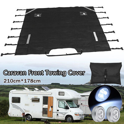 Dark Grey Caravan Front Towing Cover Protector Free LED Lights Universal Size