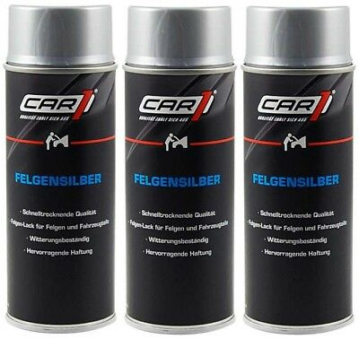 3 x 400ml CAR1 Autolack SILBER - Felgensilber, Spraydose, Lackspray - CO 3602