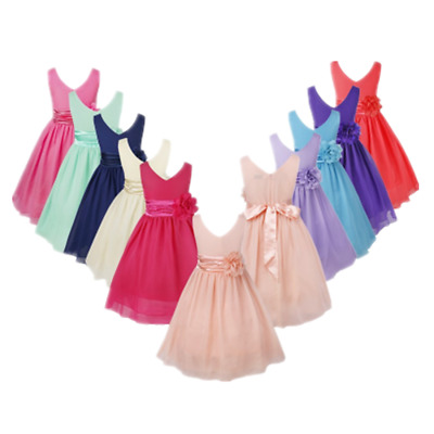 Flower Girls Chiffon Dress V-Neck Wedding Bridesmaid Dress Princess Party Gown