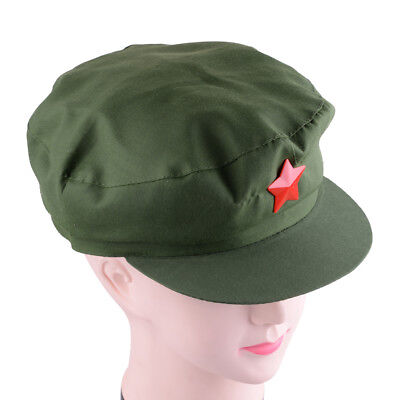 China Red Army Cap Hat Red Star Chairmen Mao Green Cap Communist Party Hat dbcc688444f5