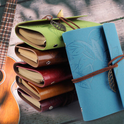 Vintage Retro Leather Leaf Notebook Travel Diary Paper Journal Book Sketchbook