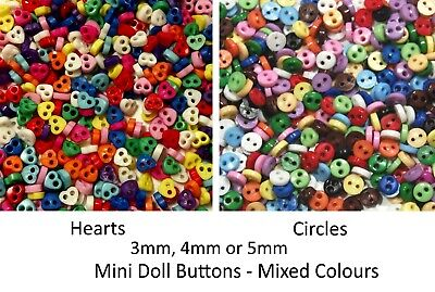 4mm Mini Buttons for Dolls & Soft Toys Clothes - 4mm Assorted Colours & Designs