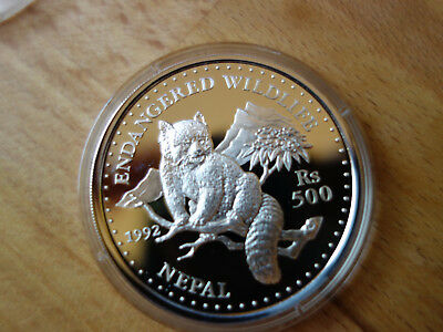 Silber 1992 Nepal 500 Rs  Endangered Wildlife Panda