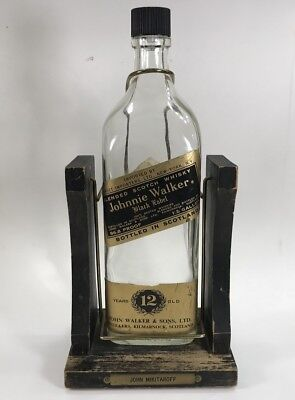 Vintage Johnnie Walker Black Label Bottle Wood Swing Cradle Stand 1/2 Gallon