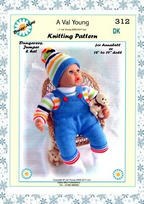 """DOLLS KNITTING PATTERN 17""""/18""""inch ANNABEL  doll No.312 by Val Young-"""